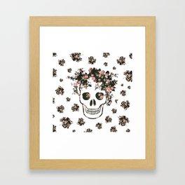 Flower Skull, Floral Skull, Pink Flowers on Human Skull Framed Art Print