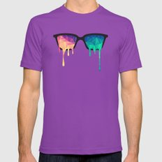 Psychedelic Nerd Glasses with Melting LSD/Trippy Color Triangles Mens Fitted Tee LARGE Ultraviolet