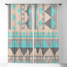 Aztec Pattern No. 28 Sheer Curtain
