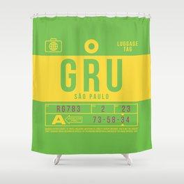 Retro Airline Luggage Tag 2.0 - GRU Sao Paulo Airport Brazil Shower Curtain
