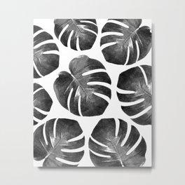 Tropical Monstera - black and white Metal Print