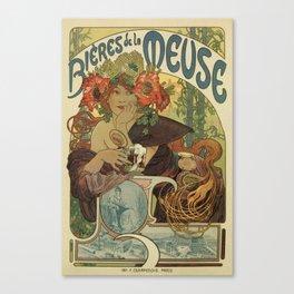 Alfons Mucha art nouveau beer ad Canvas Print