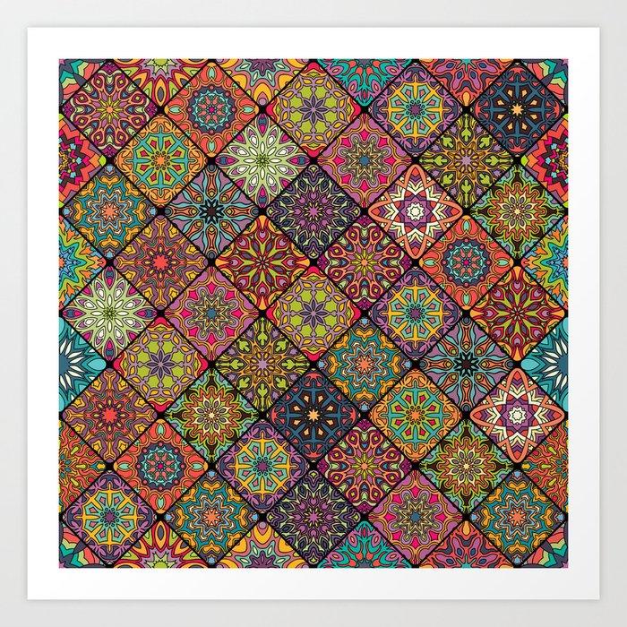 Vintage patchwork with floral mandala elements Kunstdrucke