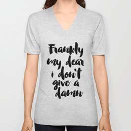 PRINTABLE Art,Frankly My Dear i Dont Give A Damn,Gift For Wife,Gift For Husband,Wall Art,Quote Print Unisex V-Neck