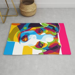 Colorful Dog Face Rug