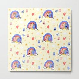 Sending Bunny Rainbow! Metal Print