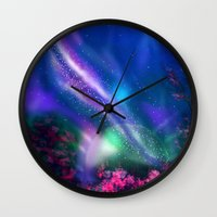 milky way Wall Clocks featuring Milky Way by Ljartdesigns