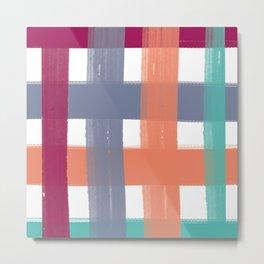 Plaid Paint Stripe Metal Print