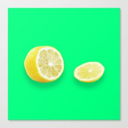 Lonely Sliced Lemon - Bright Spring Green Canvas Print