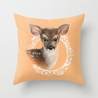 fawn Throw Pillows featuring Fawn by Gribanessa