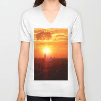 russia V-neck T-shirts featuring sunset in Russia by gzm_guvenc