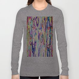 Colorful Ink Alien Skull Painting Long Sleeve T-shirt