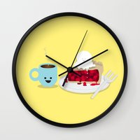 ashton irwin Wall Clocks featuring Coffee and Pie by Terry Irwin