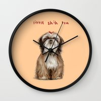 shih tzu Wall Clocks featuring Shih Tzu by Katherine Coulton