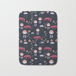 Pink jaguars in the night Bath Mat