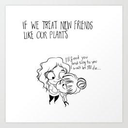 comic of plants and friends Art Print