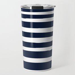 Stripes Nautical Modern Navy and White Travel Mug