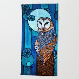 Barn Owl Art Nouveau Panel in blue Beach Towel