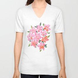Pink Orchids Unisex V-Neck