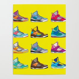 Colorful Sneaker set yellow illustration original pop art graphic print Poster