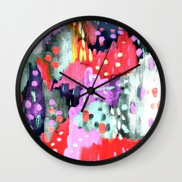 Silver, Pink & Purple Party Wall Clock