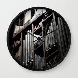 Gray and Brown Steel Organ Musical Instrument Abstract Print Wall Clock