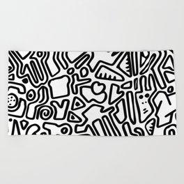 black & white doodle Beach Towel