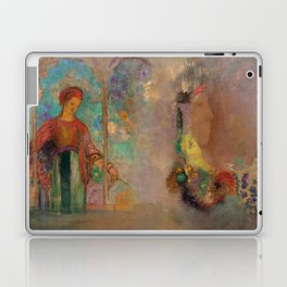 """Odilon Redon """"Woman in a gothic arcade - Woman with flowers"""" Laptop & iPad Skin"""