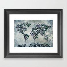 world map floral black and white Framed Art Print