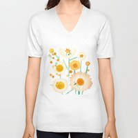 daisies V-neck T-shirts featuring Daisies by maria carluccio