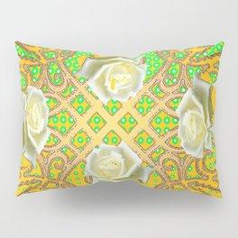GOLDEN WHITE ROSE GARDEN TAPESTRY ART Pillow Sham
