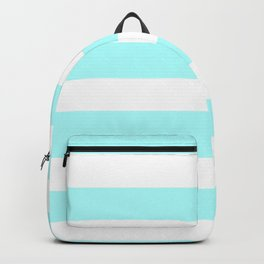 Horizontal Stripes - White and Celeste Cyan Backpack