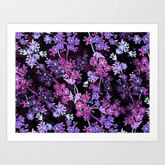Pink & Purple Floral Pattern Art Print