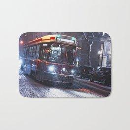 King St Streetcar in the snow - Toronto Winter 2016 Bath Mat