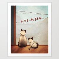 friendship Art Prints featuring Friendship by Naomi VanDoren