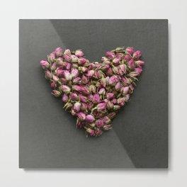 Rose Bud Heart Metal Print