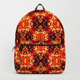 Orange black geometric ornament retro vintage pattern Backpack