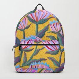 Bold Protea Flower Pattern - Pink Blue Green Purple Yellow Backpack