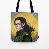 loki Tote Bags featuring Loki by Slugette