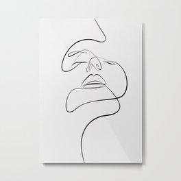 Monoline woman face Metal Print
