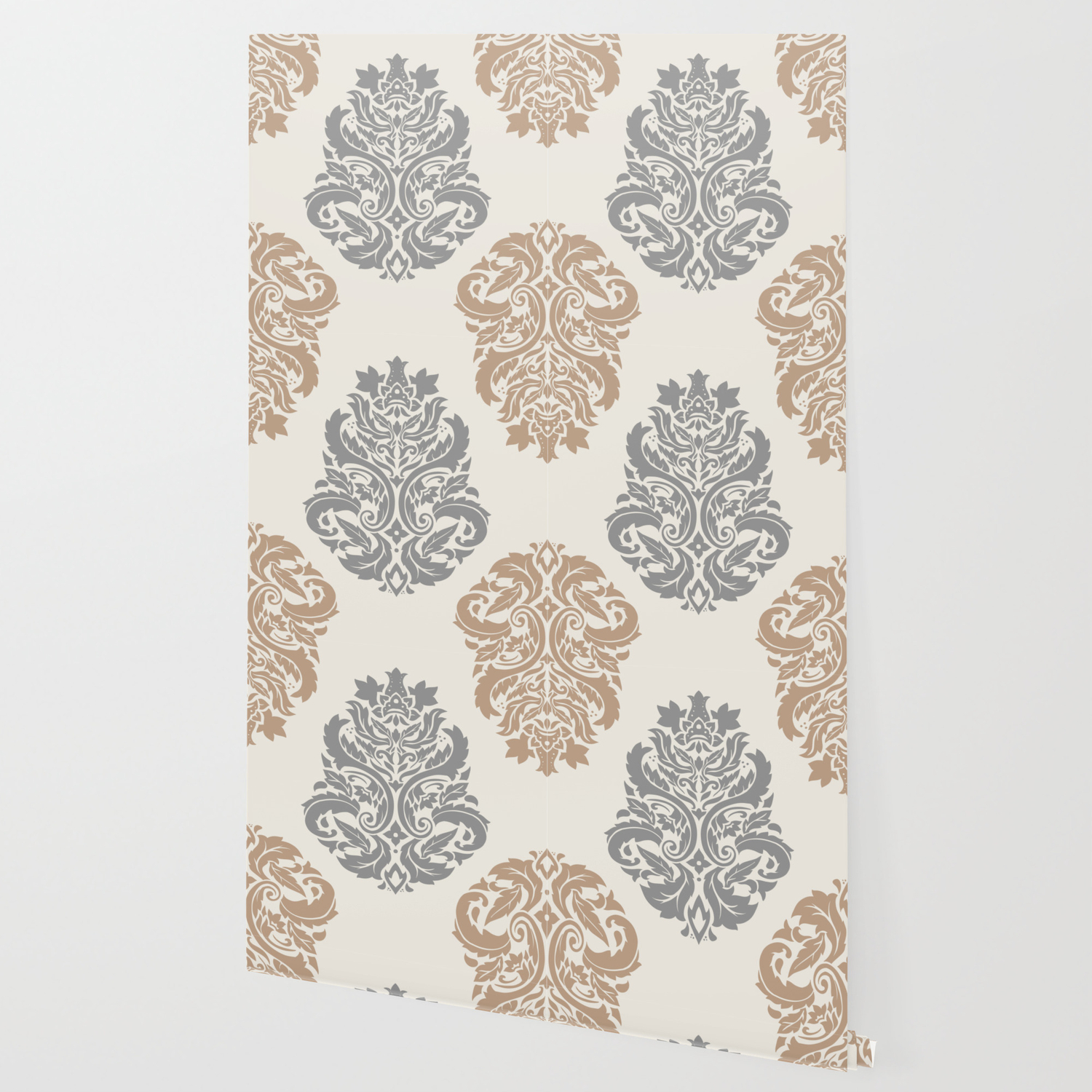 Liberty Floral Damask Pattern Neutral Brown And Gray Earth Tones