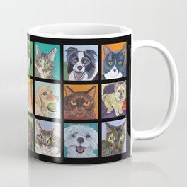 Cats and Dogs in Black Coffee Mug