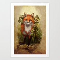 Fox [caming out of the woods] Art Print