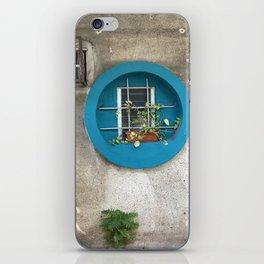 Tel Aviv - blue window on a grey wall iPhone Skin
