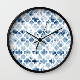 Modern navy blue tie dye hand painted watercolor geometric quatrefoil pattern Wall Clock