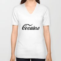 cocaine V-neck T-shirts featuring Cocaine by Anfetamina
