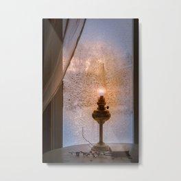 Frozen night window Metal Print