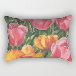 Pink and Yellow Tulips Rectangular Pillow