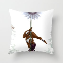 Purple Dancing Daisy Throw Pillow