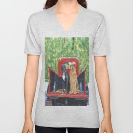Antique Truck with Dogs Unisex V-Neck